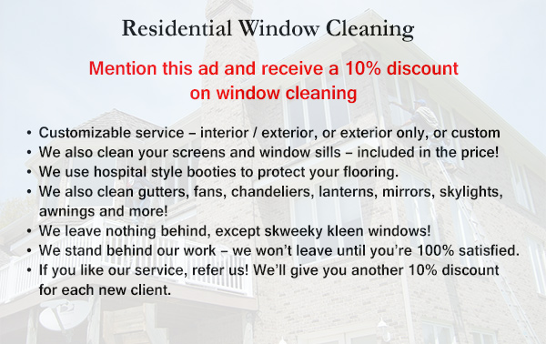 Residential Window and Gutter Cleaning Discount